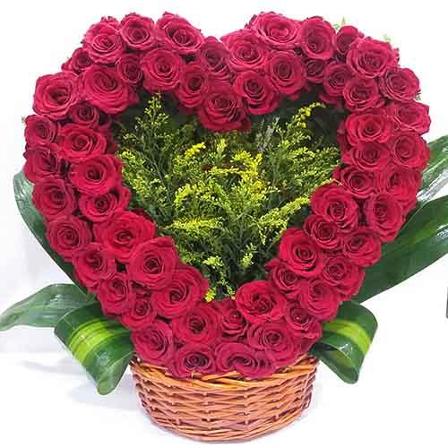 Heart Shape Rose Basket
