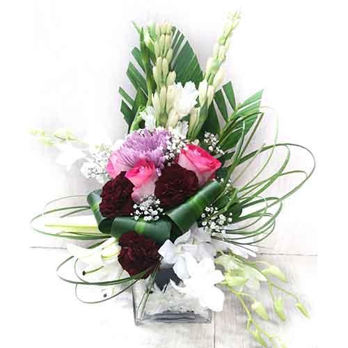 Home ...  sc 1 st  MohBat.ae & Mixed Flower Vase - Rose Orchid Lilly \u0026 Tuberose - 1FLR001 ...