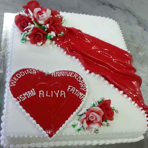 Red heart on white cream cake - SKUCAK098 - Flowers, Cakes and Gifts delivery in Dubai UAE