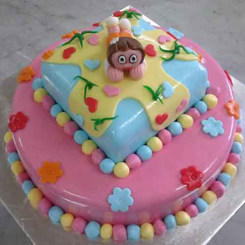 Cute little girl thinking cake - SKUCAK062 - Flowers, Cakes and Gifts delivery in Dubai UAE