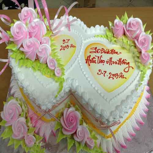 Dual heart cake for wedding - SKUCAK90 - Flowers, Cakes and Gifts delivery in Dubai UAE