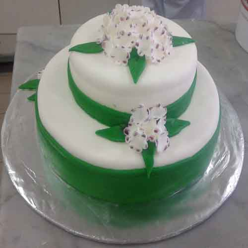 Two layer green ribbon cake - SKUCAK093 - Flowers, Cakes and Gifts delivery in Dubai UAE