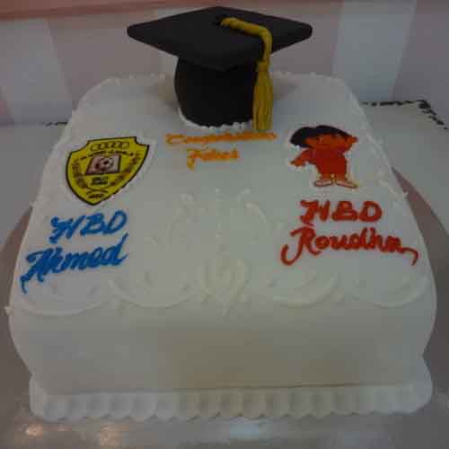 Vanila Flavoured Cake - Congradulation Cake for Twins on their Educational Success - Flowers, Cakes and Gifts delivery in Dubai UAE