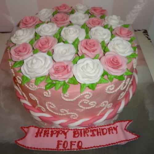 Vanilla Cake with Pink and White Creamy Rose Flowers - Flowers, Cakes and Gifts delivery in Dubai UAE