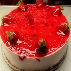 Vanilla cheese cake with red cherry jelly topping - Flowers, Cakes and Gifts delivery in Dubai UAE