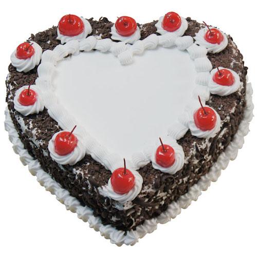 Freshly baked black forest heart shape cake - SKUCAK104 - Flowers, Cakes and Gifts delivery in Dubai UAE