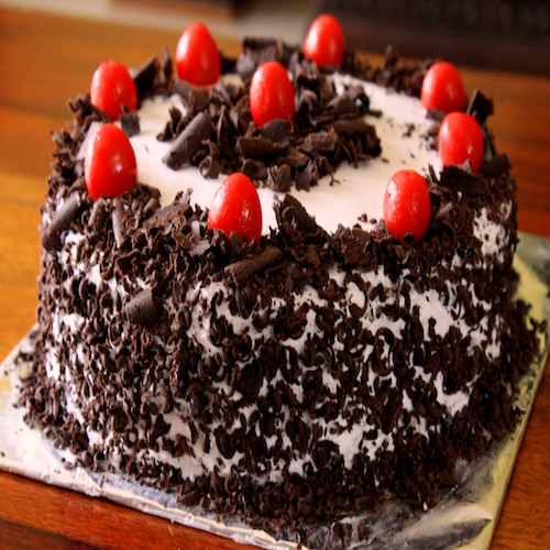 Freshly baked black forest round shape cake - SKUCAK105 - Flowers, Cakes and Gifts delivery in Dubai UAE