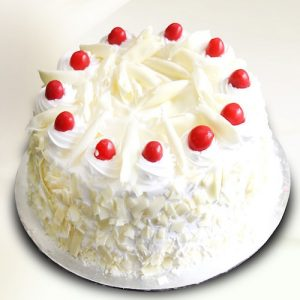 Freshly baked white forest round shape cake - SKUCAK107 - Flowers, Cakes and Gifts delivery in Dubai UAE