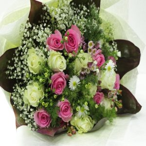 Flower Bouquet with pink and cream rose - SKUFLR02 - Flowers, Cakes and Gifts delivery in Dubai UAE