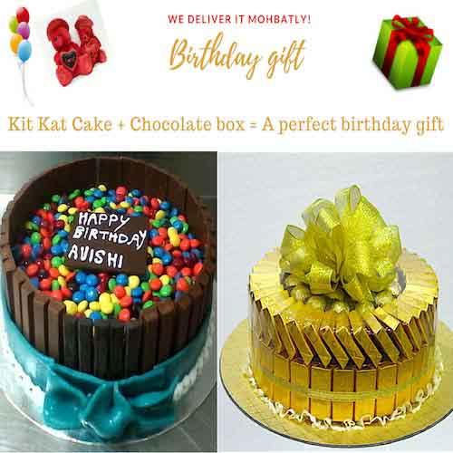 SAVE AED15! 1Kg Kit Kat Cake & 60 Belgium chocolate combo