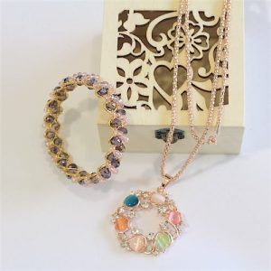 Rosegold color necklace and bangle set 1 - Online Gifts Delivery in Dubai UAE