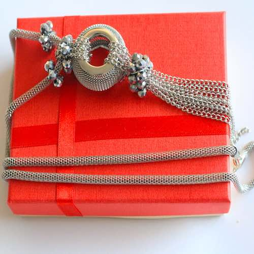 Silver color long necklace 1 - Gifts for Women - Online Gifts Delivery in Dubai UAE