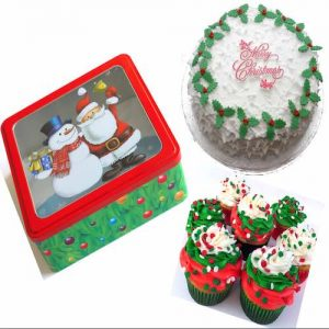 Min 1.5 Kg - Christmas cake & 6 cupcake - Online Gifts Delivery UAE