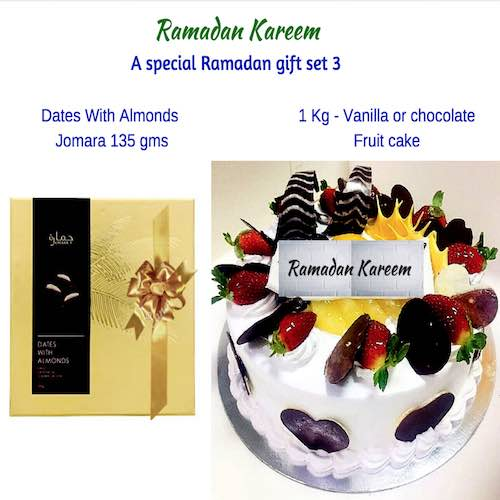 1 Box Dates With Almonds & 1 Kg Fruit Cake