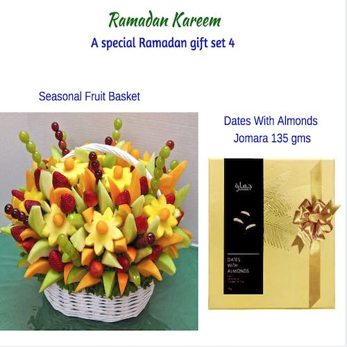 1 Box Dates With Almonds & Fruit Basket