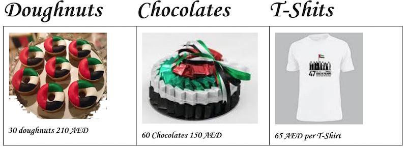 UAE National Flag Doughnuts chocolates tshirts