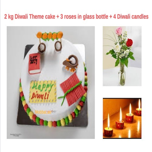 2Kg Diwali Theme Cake + 3 Roses in Glass Bottle + 4 Diwali Candles Combo Gift