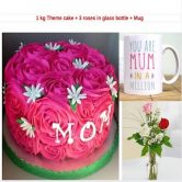 1Kg Theme Cake + 3 Roses in Glass Bottle + Mug Combo Gift