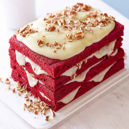 Square Red Velvet Cake With 4 Layers Of Cream Flowers Cakes And Gifts Delivery