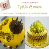SAVE AED15! 1Kg Dark yellow topping Cake & chocolate combo